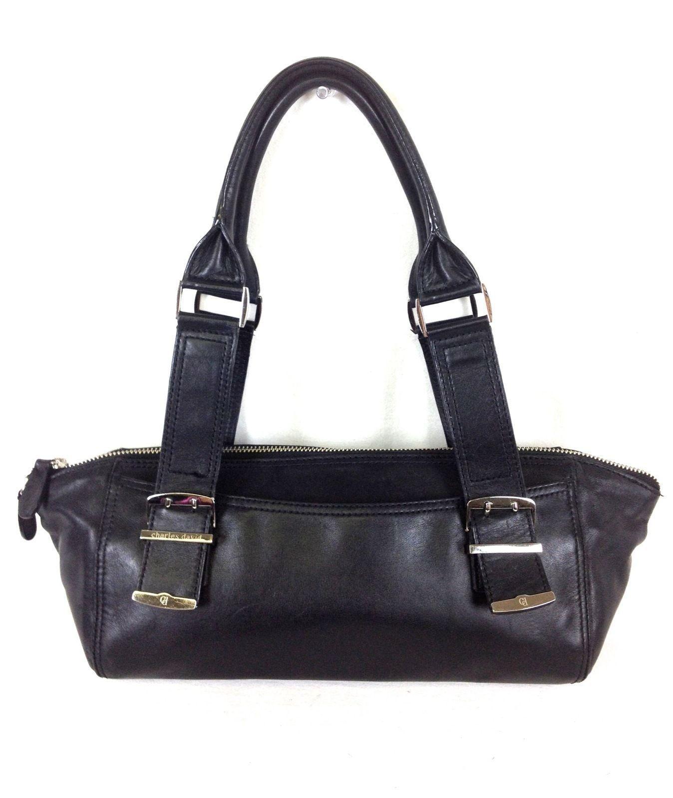 Charles David Purse Leather Black Satchel Top Zip Shoulder Bag Handbag M Handbags Purses