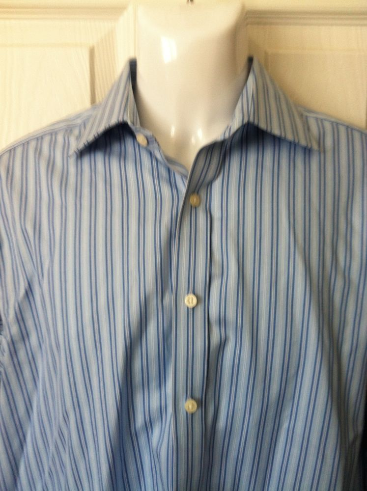 Mens Striped Blue 100% Cotton Crease Resistant Thomas Pink Dress ...