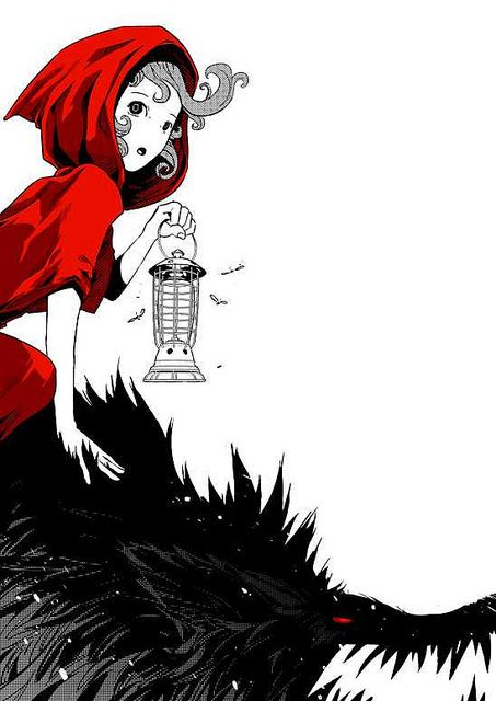 Red Riding the big bad wolf. I like all the art done with black & red on white. Those may be the party colors...  at least in one room.