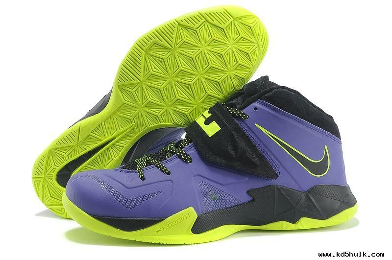 authentic nike lebron zoom soldier vii court purple flash lime