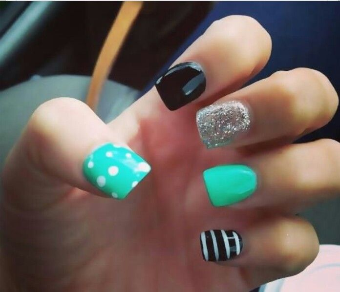 LOVE LOVE LOVE this nail design! Turquoise, Black, White, and Sliver  Glitter with Polkadots and Strips Nail Art Design - Nail Designs My Favorites Pinterest Makeup, Black Nails And