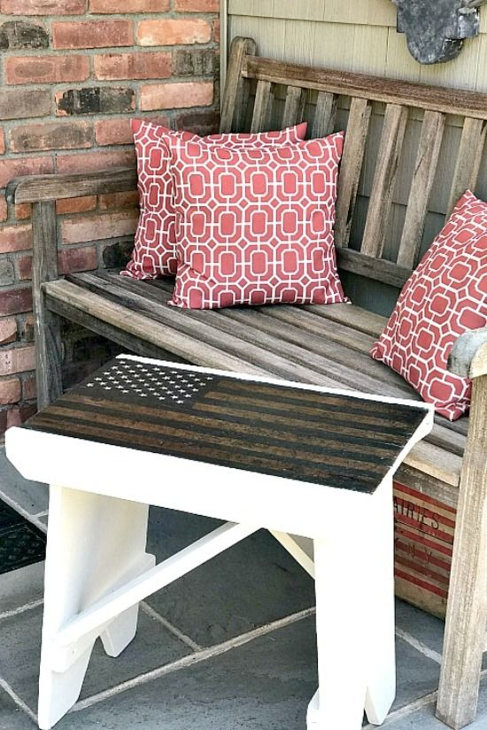 Rustic American Flag Bench #americanflag