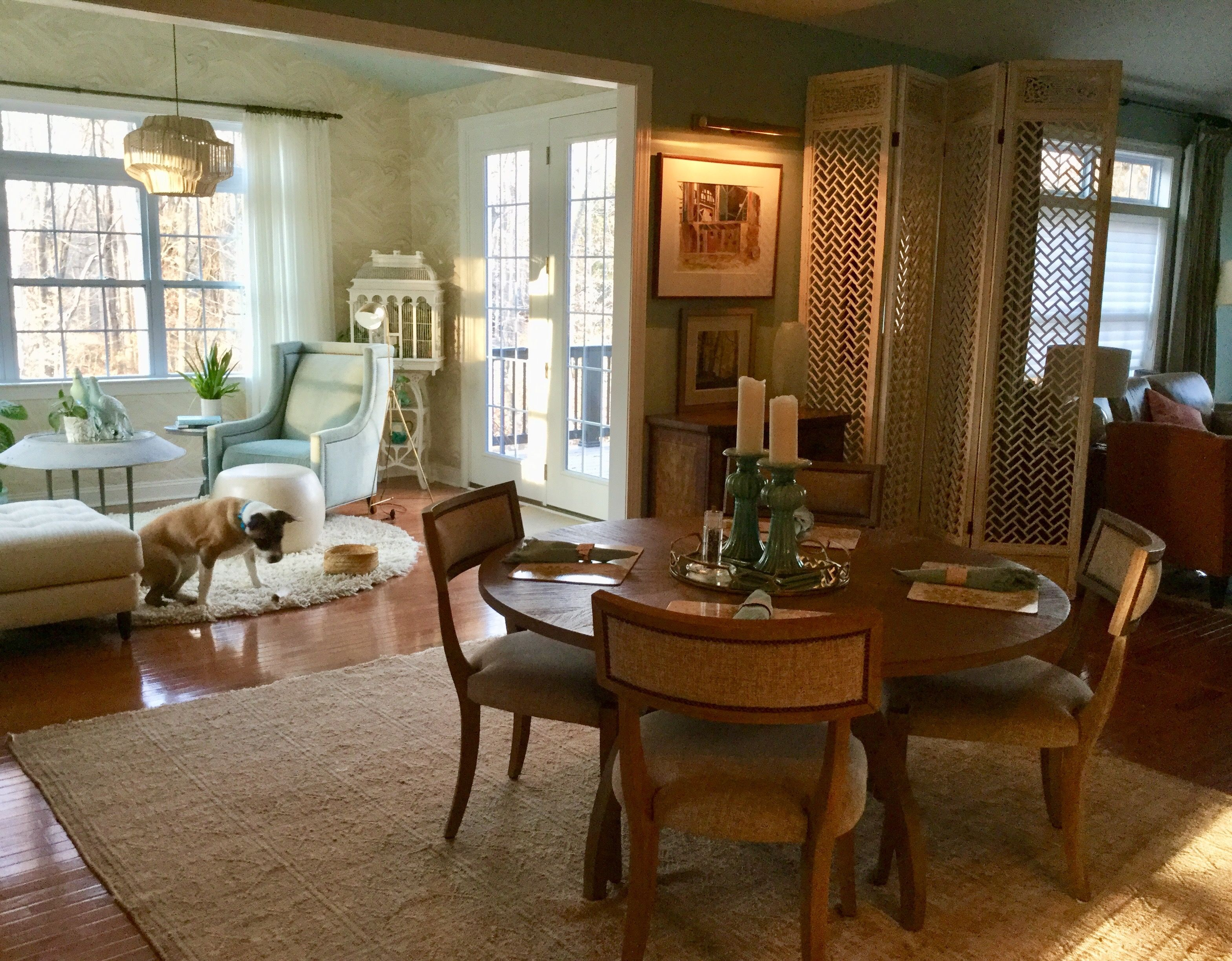Great Room With Sunroom Attached Amazing Faux Agate Wallpaper Screen To Offer Dimension Updated Wing Chair Roun Interior Design Room Design Round Shag Rug