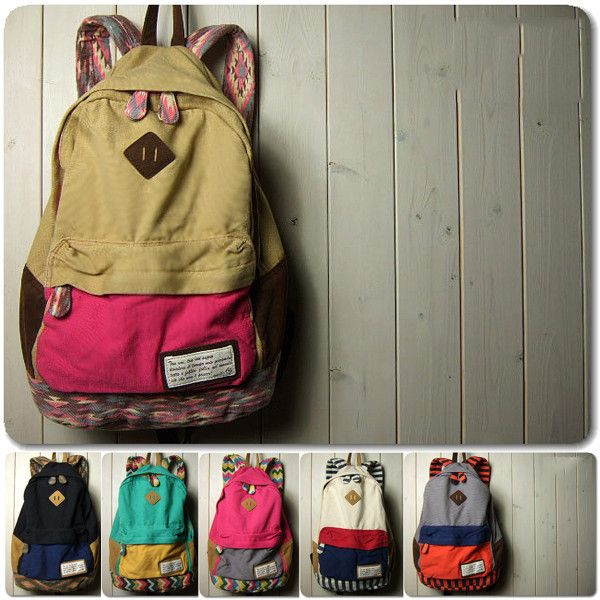 NEW Japanese Women Girl Cool Color Matching BAG Schoolbag Bookbag ...