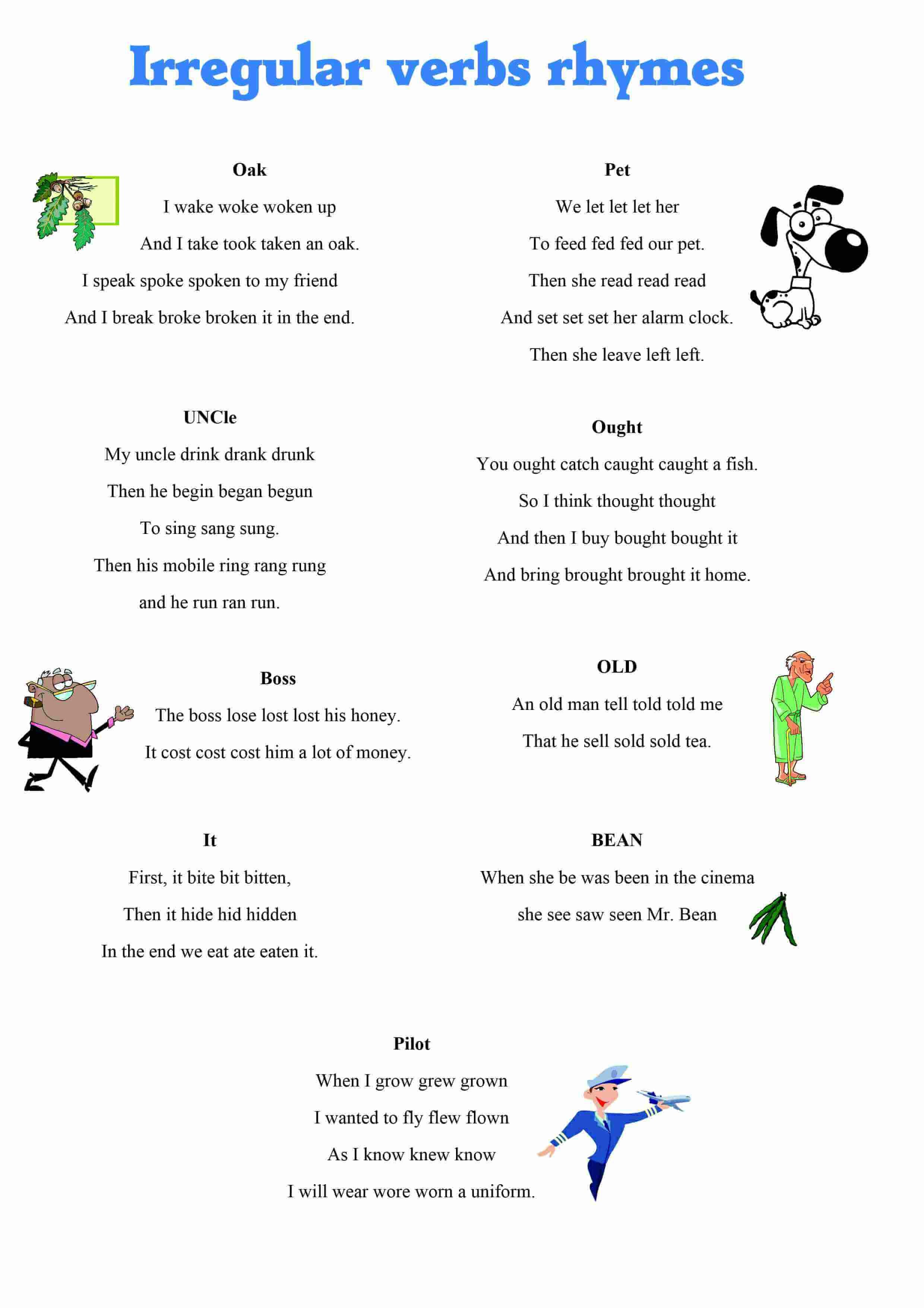 worksheet Irregular Verbs Worksheets irregular verbs rhymes picture web english language esl efl web