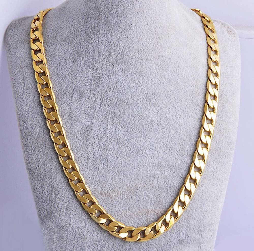 10mm 24 Men 18k Yellow Gold Plated Cuban Chain Necklace Mens Jewelry Hip Hop Ebay Mens Chain Necklace Gold Chains For Men Chains For Men