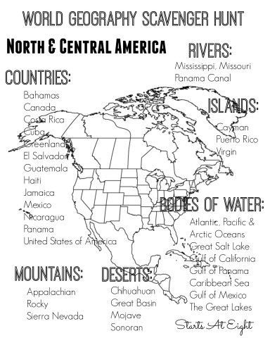World Geography Scavenger Hunt North  Central America FREE
