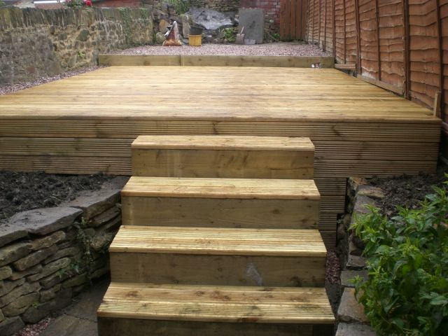 decking with sleeper steps in sheffield landscaper