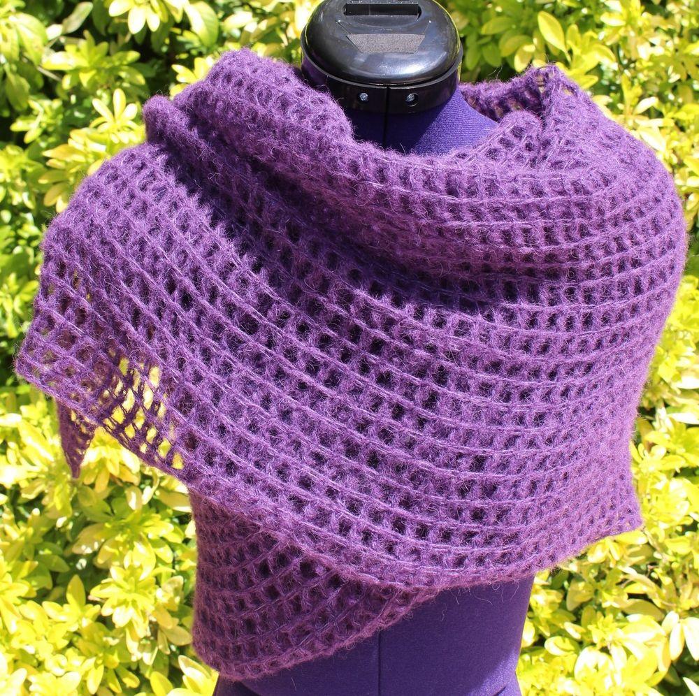 Châle crochet dentelle, étole alpaga soie, écharpe longue ajourée, châle  plaid violet, 138511ac59d