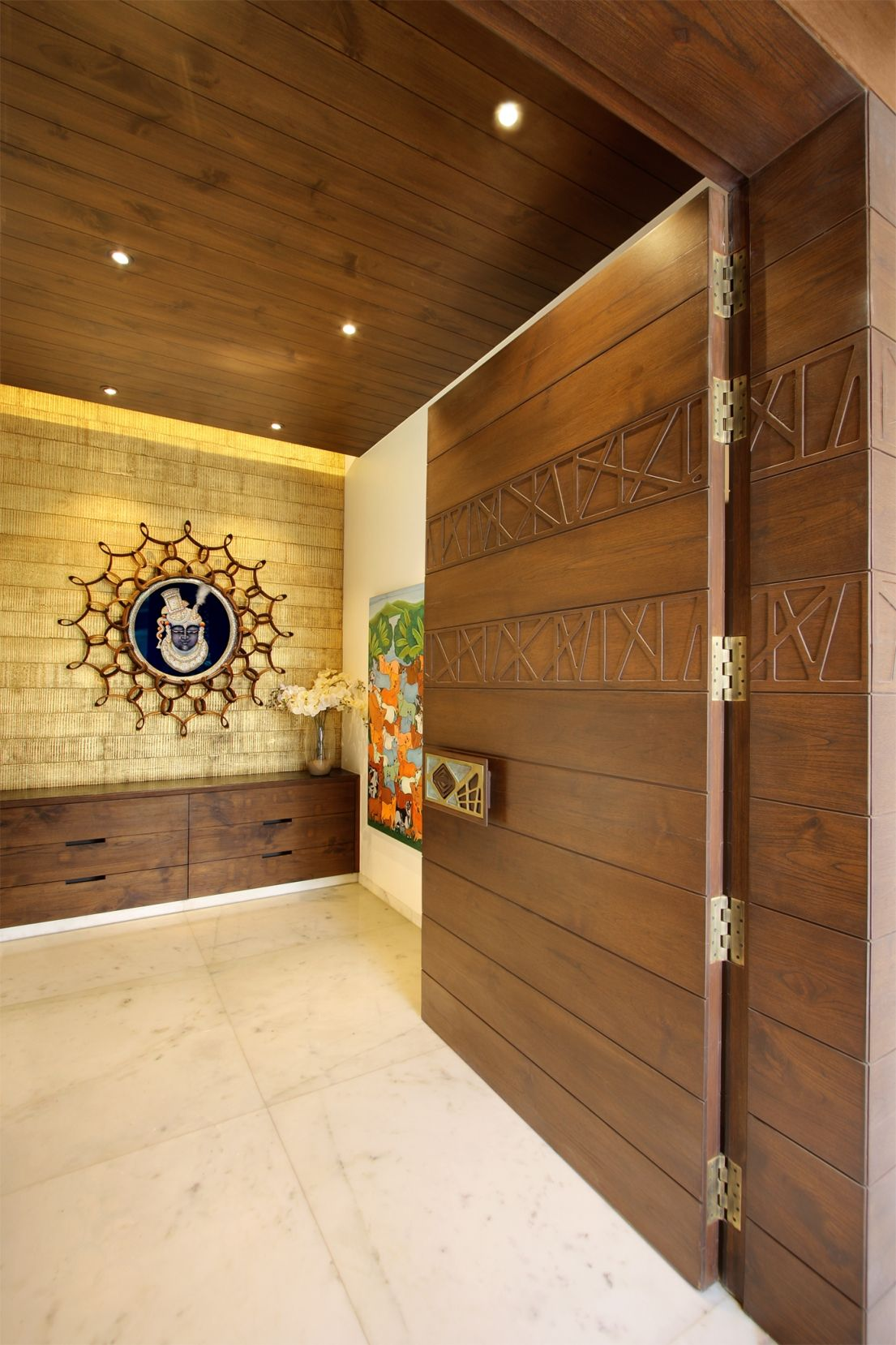 Entrance Foyer And Circulation In House : Vinay shah residence dipen gada associates wooden