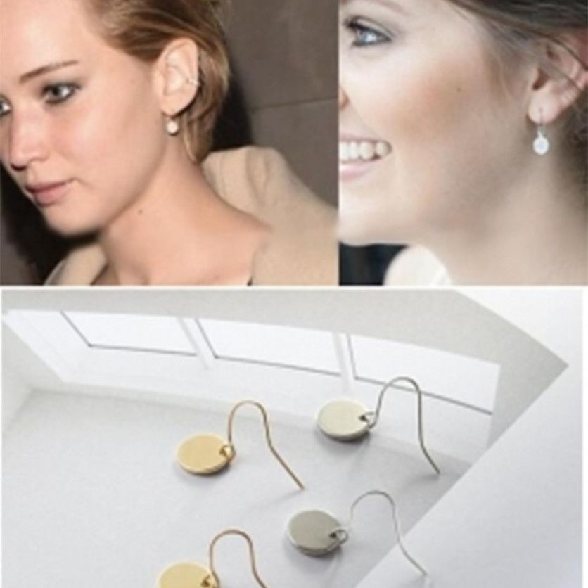 Nueva Moda Mini Ronda Pendientes Minutos Redonda Pendientes Joyería Simple Al Por Mayor