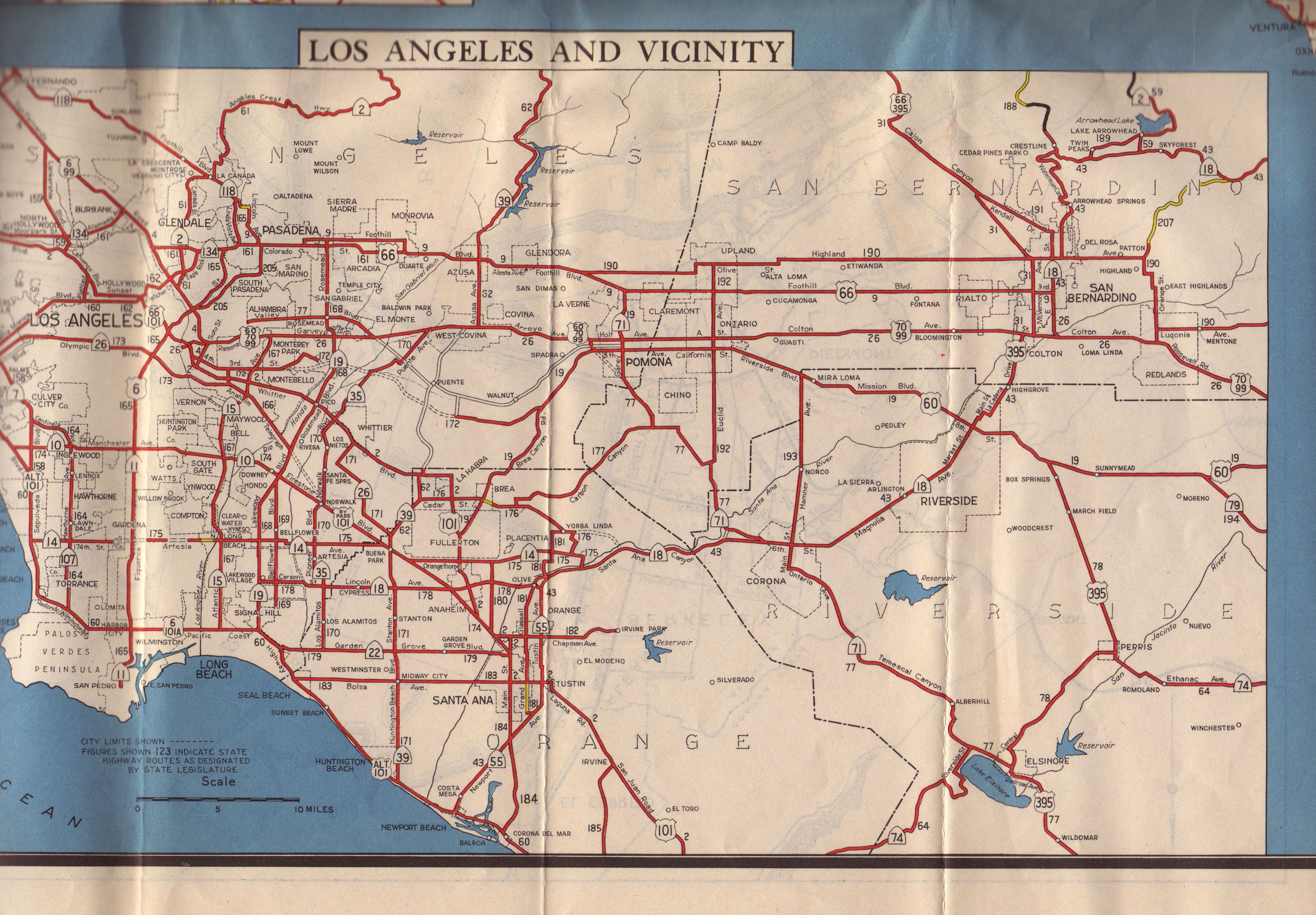 LA Highways in 1944 not Freeways LA