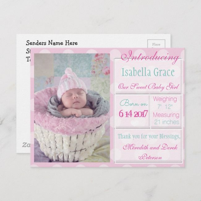 Introducing New Baby Girl Announcement Postcard Zazzle in 2019