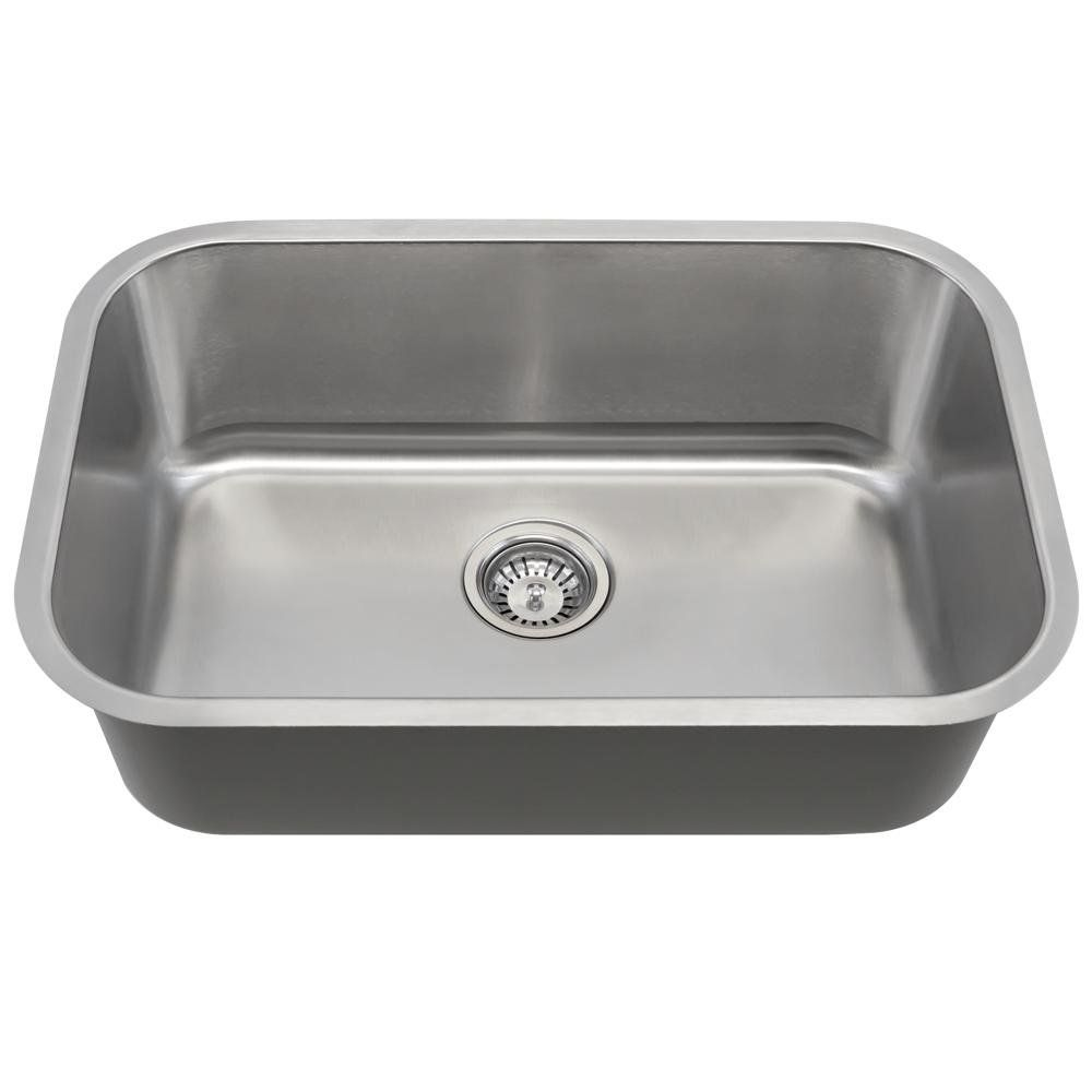 Mr Direct 2718 Single Bowl Stainless Steel Sink 16 Grey