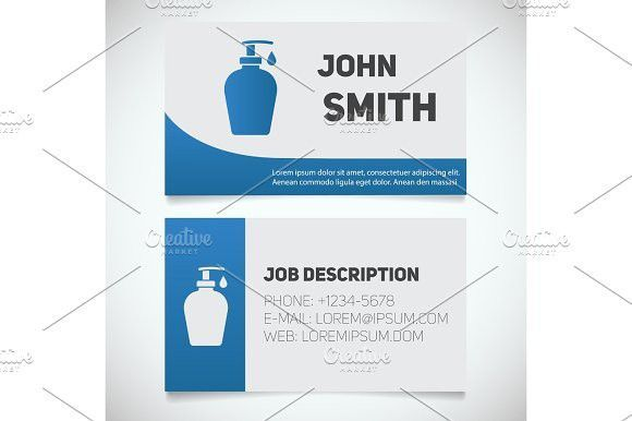 Business Infographic Business Card Print Template With Liquid Soap