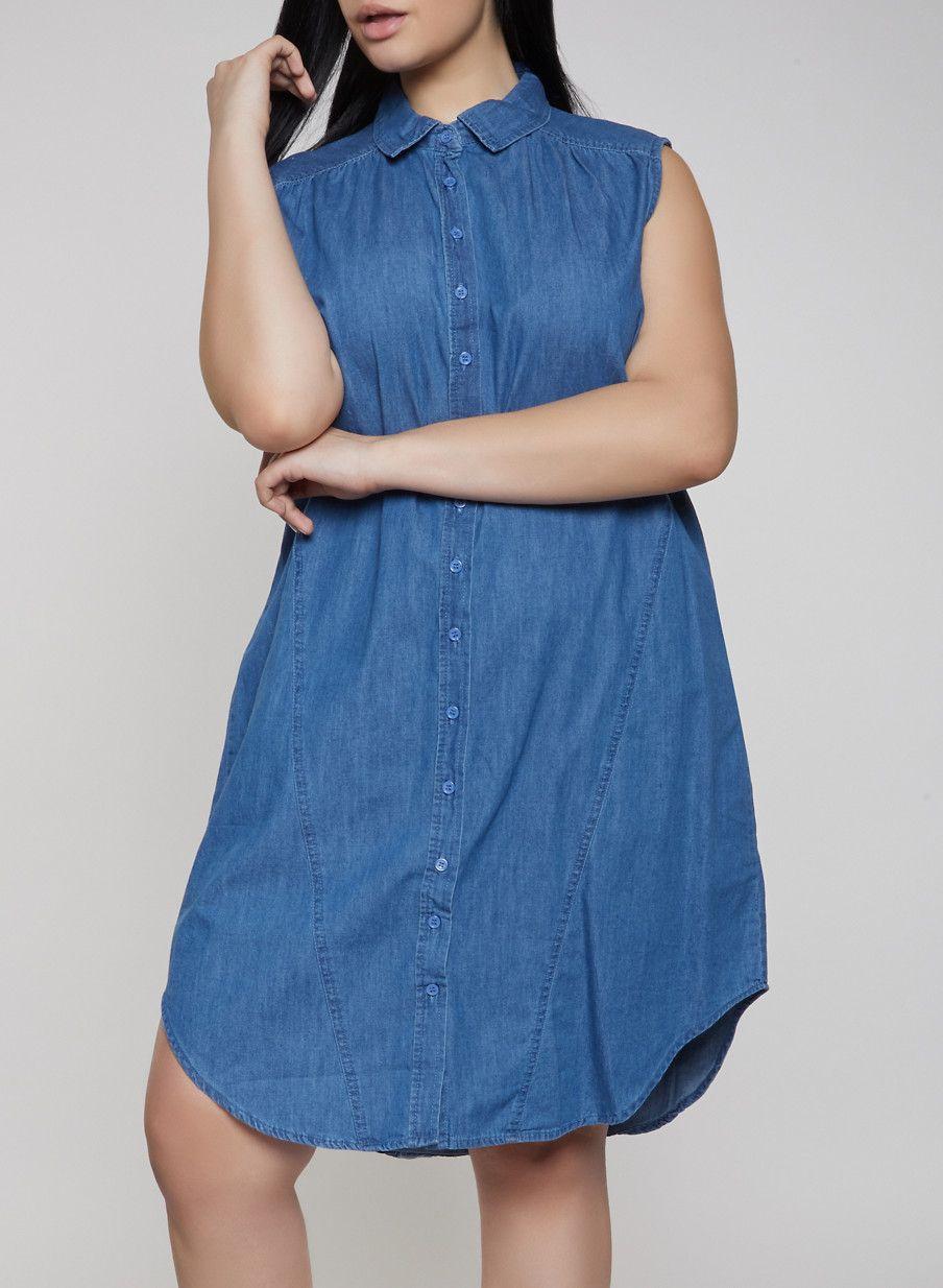 24053a3f437 Plus Size Sleeveless Denim Shirt Dress - Blue - Size 3X in 2019 ...