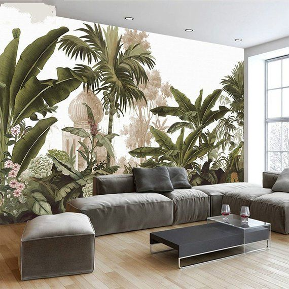 Hand Painted Tropical Rainforest Forest Wallpaper Wall