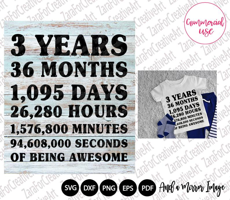 3 years Of Being Awesome svg, Birthday Countdown svg ,my third birthday svg, 3rd birthday svg, three year old svg, Vinyl cut file, girl ,boy #creativeartsfor2-3yearolds