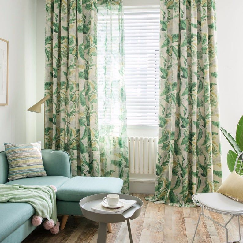2 Colors Custom Curtain Pair Panels Green Leaves Print Etsy In 2020 Printed Curtains Colorful Curtains Country Style Living Room #tropical #curtains #for #living #room
