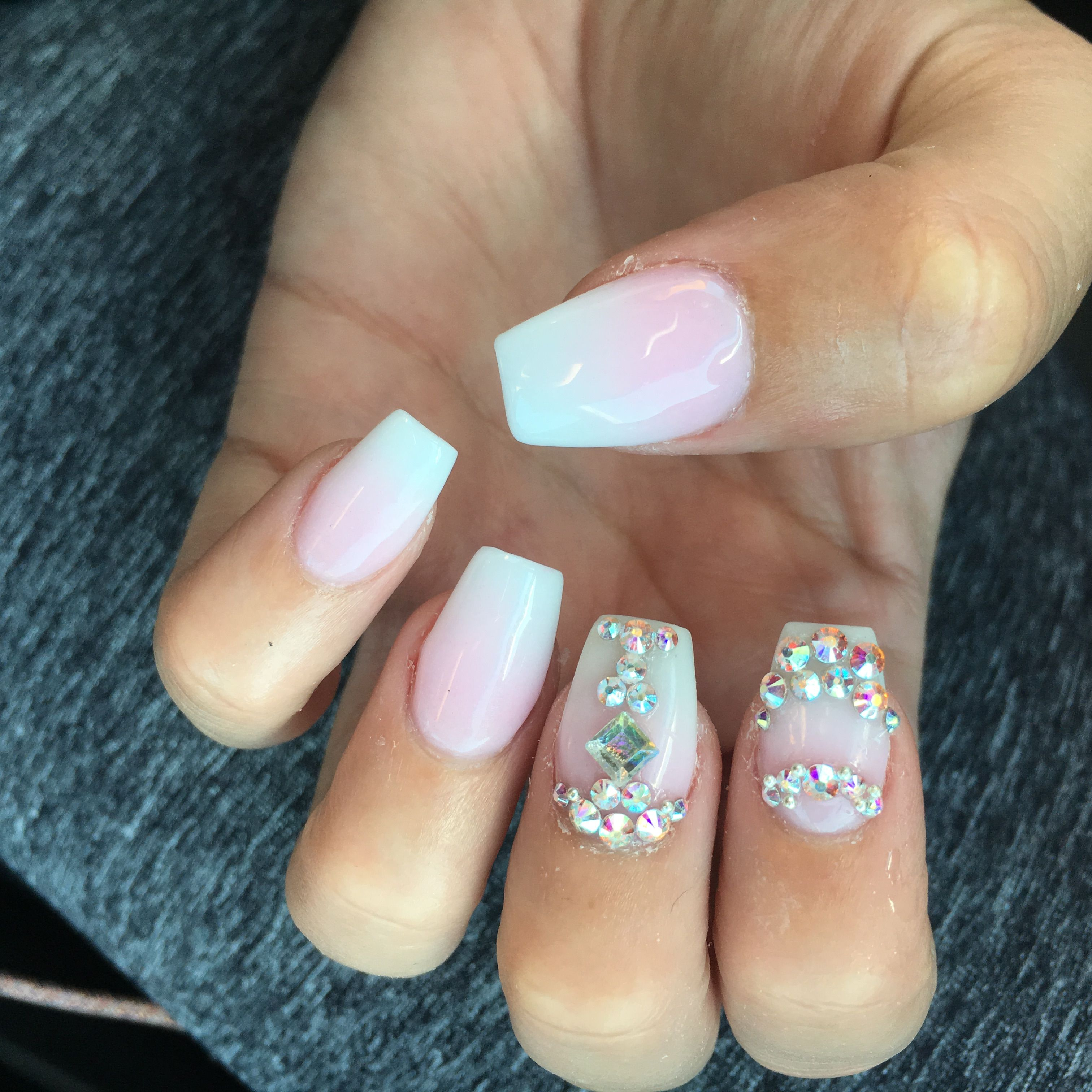 Ombre Coffin Nails With Rhinestones Shoesdogsandchocolate Rhinestone Nails Nails Ombre Nails