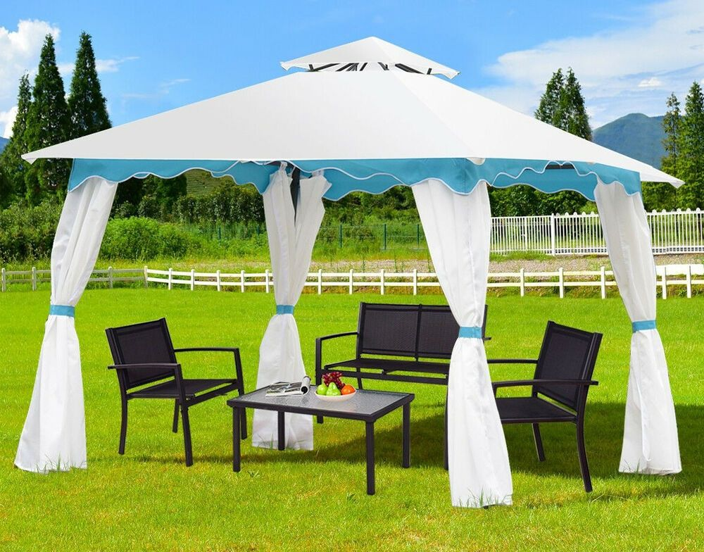 Garden Gazebo Outdoor Tent Metal Frame Steel Screened Curtains