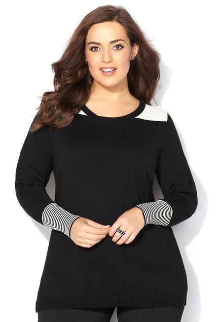 Striped Cuff Pullover Sweater