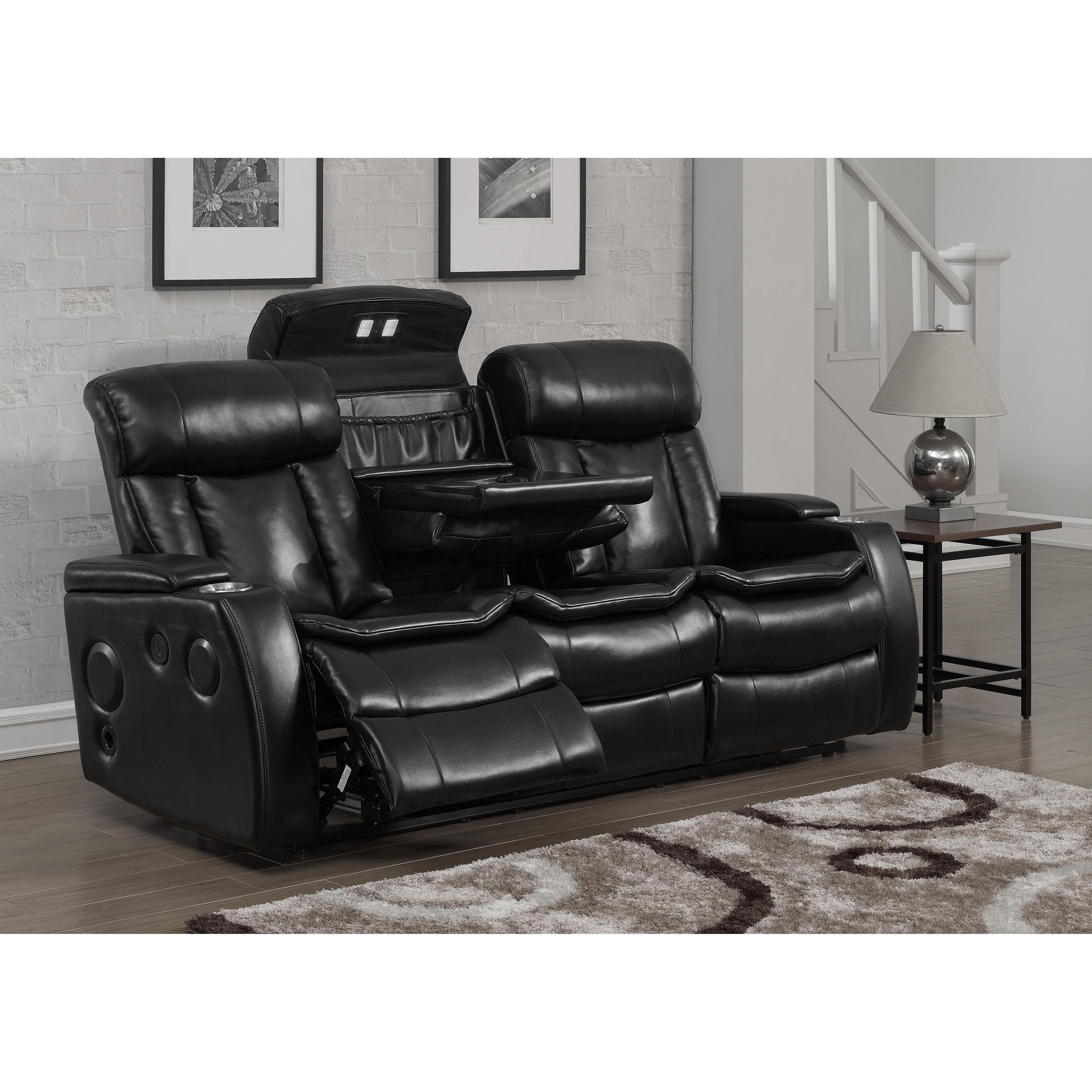power sofa recliner mechanism broyhill sleeper mattress smart tech bluetooth reclining black faux