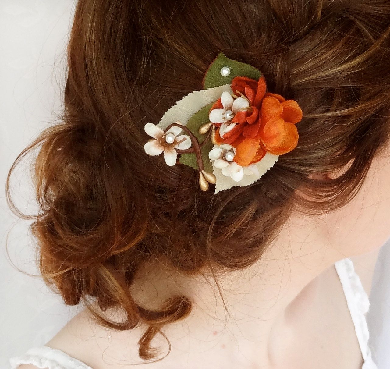 hair pieces for wedding fall hair accessories burnt orange flower hair clip bridal hair accessory LEAFLET rustic wedding flower girl