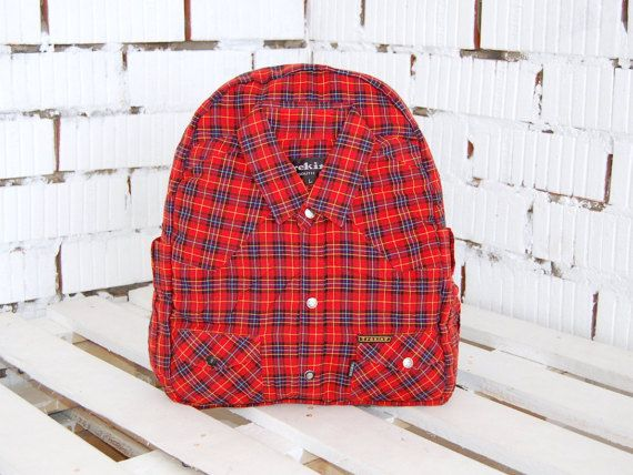 Red Plaid Backpack  Eco Reused Backpack  Cotton by WhatTheFactory