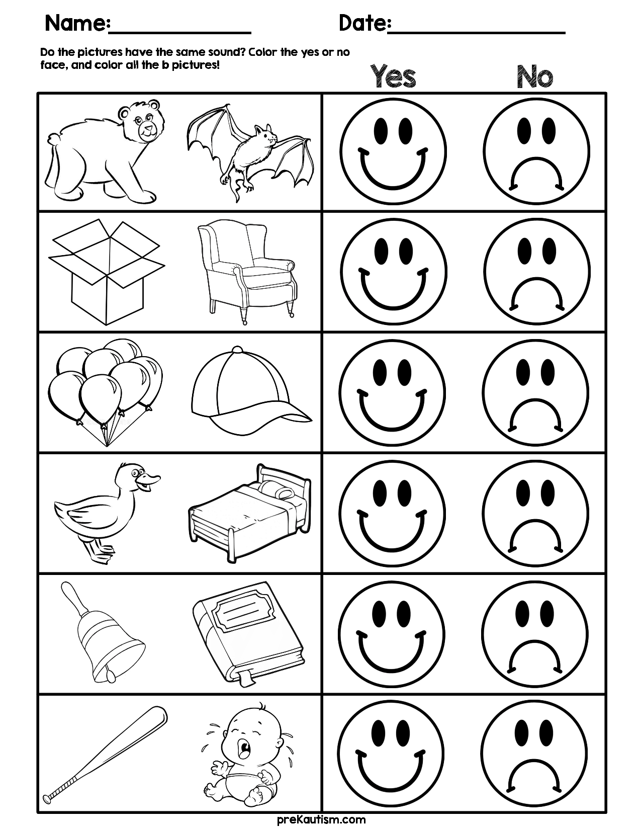 Consonant Sound Match Worksheets