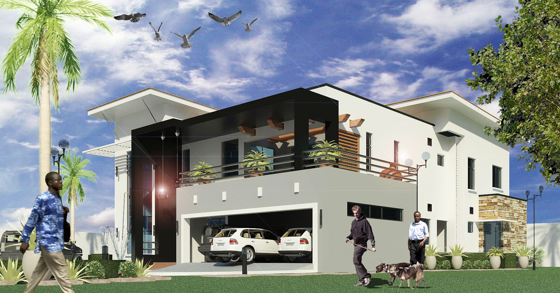 Villa, Guzape, Abuja - Design 3d | Residential Designs: Contemporary on front walkways to house, landscaping near house, frontrunners landscape designs house, landscape idea for the front of your house,