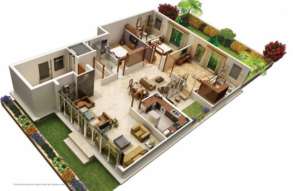 31 awesome villa floor plan 3d images plan pinterest for 3 bedroom house plan design 3d