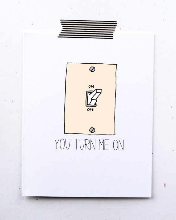 You turn me on valentines day card light switch tan minimal simple for husband boyfriend naughty sexy greeting card funny little sloth