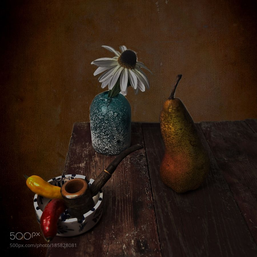 Daisy and pear still life by DirkNoort