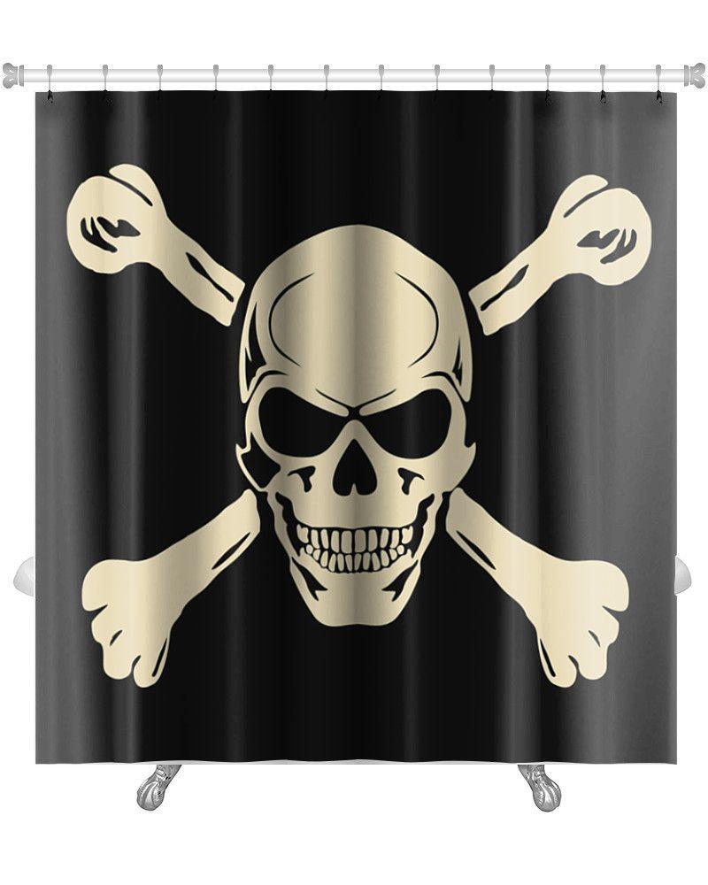 Danger Evil Skull With Bones Warning Sign Premium Single Shower