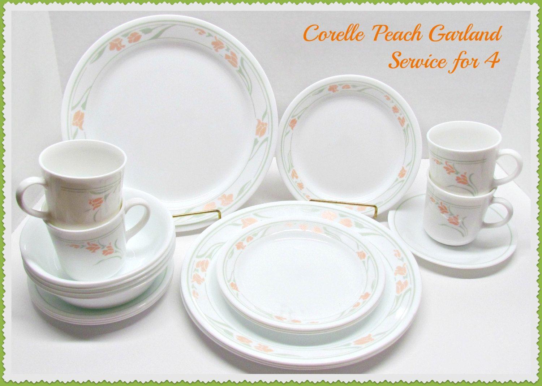 Vintage Corelle 'Peach Garland' Dinnerware, 20 Piece