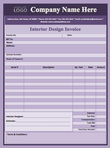 Interior Designer Invoice Template Templates Pinterest - Interior design invoice examples