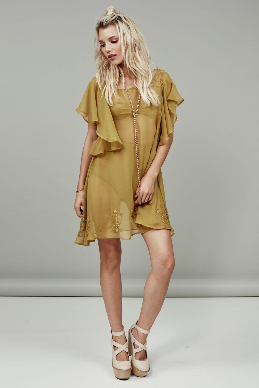 Prickly Pear Mini Dress in Mustard Gold