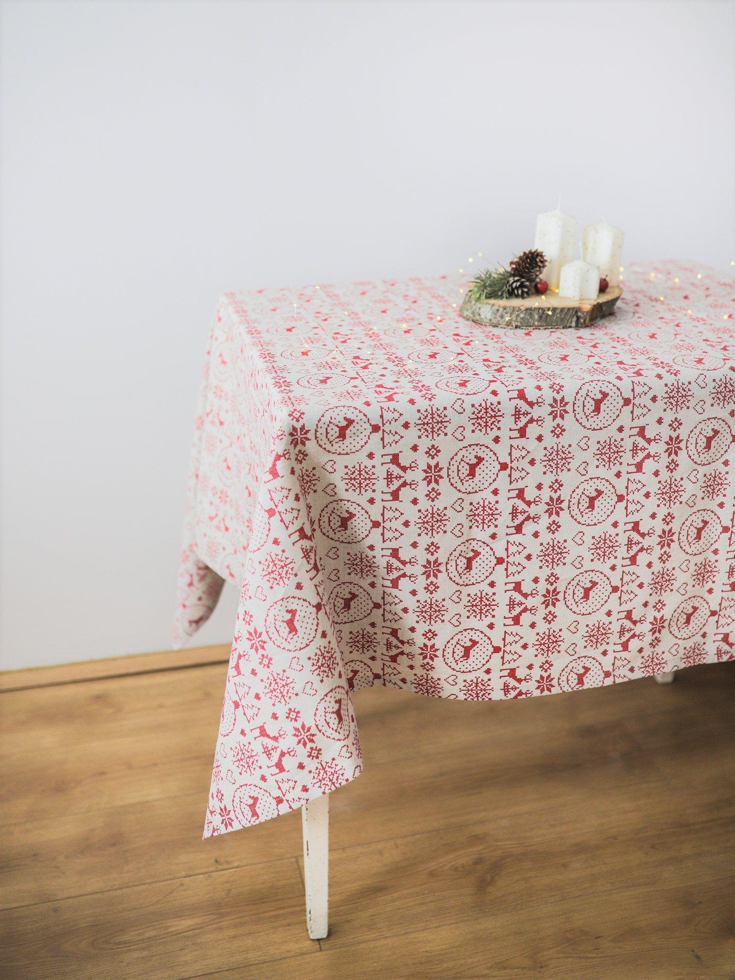 Christmas Accent Tablecloth Christmas Ornaments Table Cloth