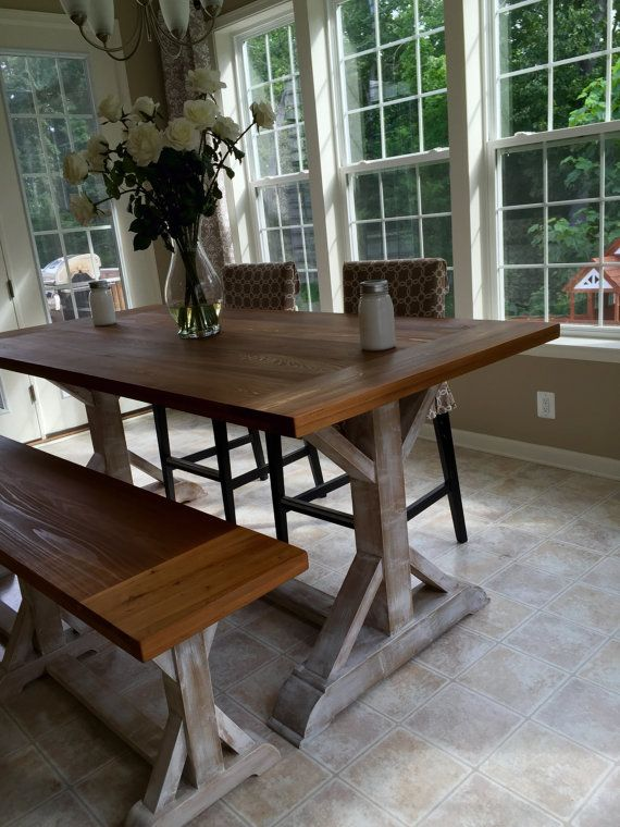 Beautiful Cypress Counter Height X Leg Farmhouse Table DIY Home - High top dining table with bench