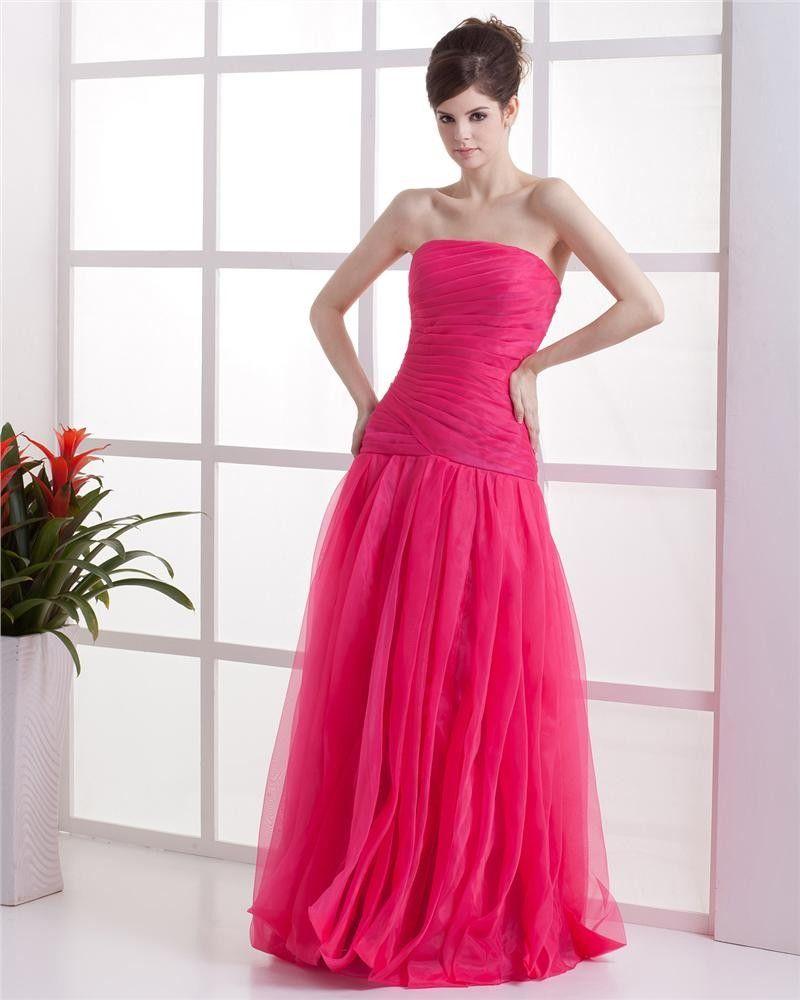Strapless ruffle sleeveless zipper floor length organza woman prom