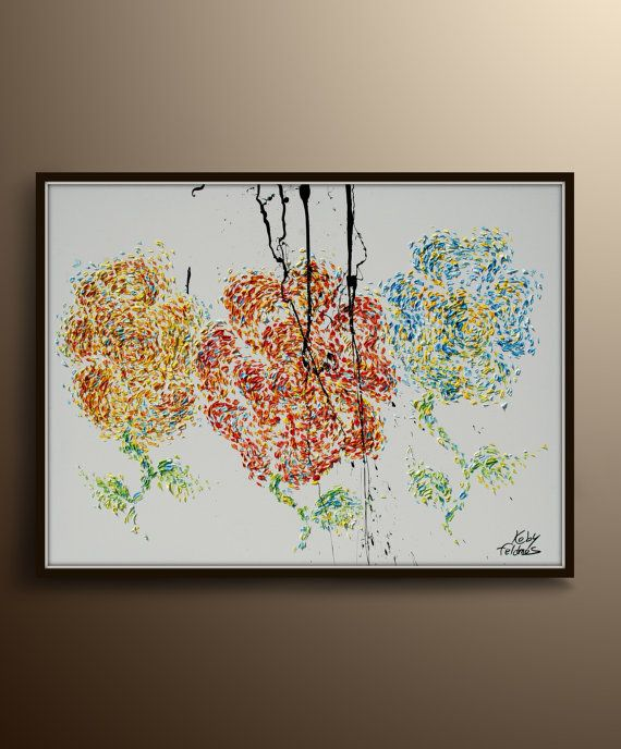 Flower Painting 47 Oil painting Painting 3 Flowers by KobyFeldmos