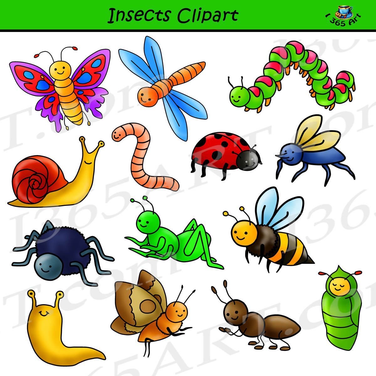 Insect Clipart Set - Commercial-Use Graphics | Insect clipart ...