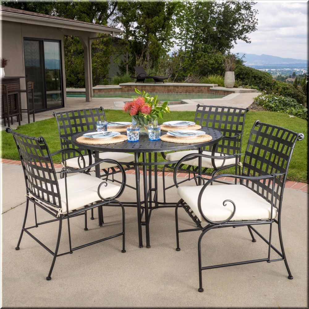 Patio Dining Set 5 Piece Round Table Chairs Black Metal Outdoor