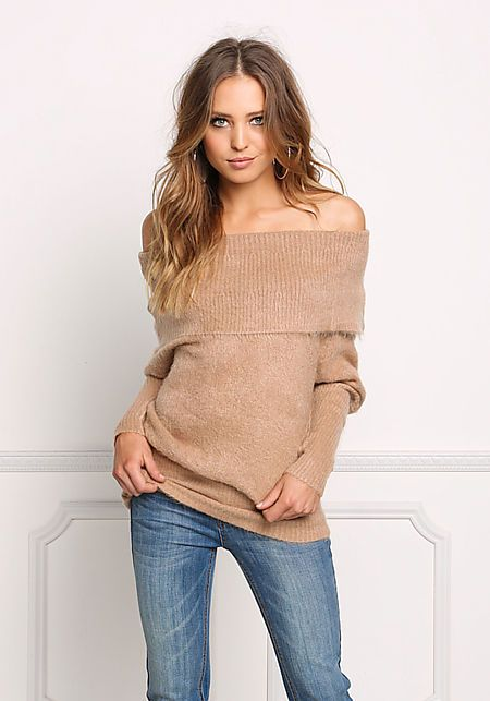 Light Mocha Fuzzy Knit Off Shoulder Fold Over Sweater Top | hot ...