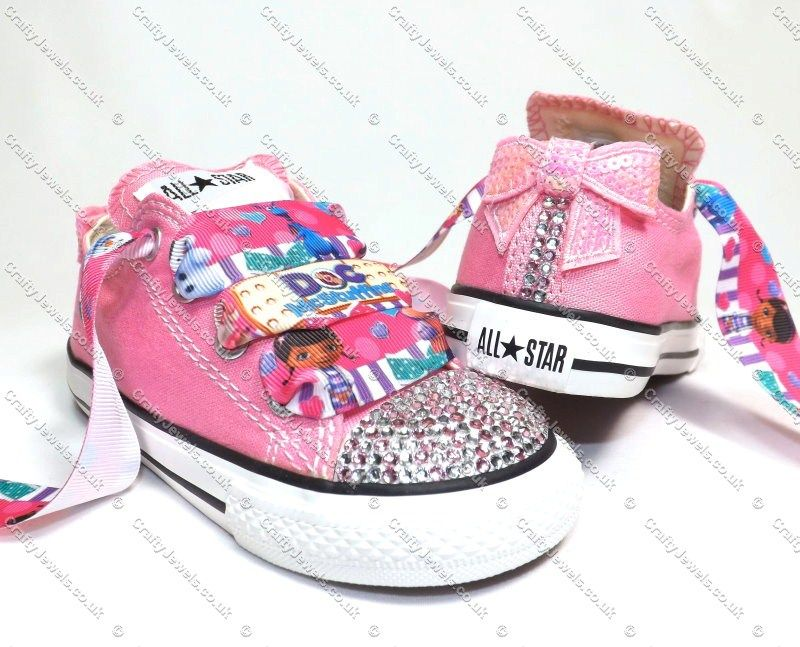 d484ad0f9b802 Swarovski or Diamante Crystal Kids Doc Mcstuffins Converse in Pink ...