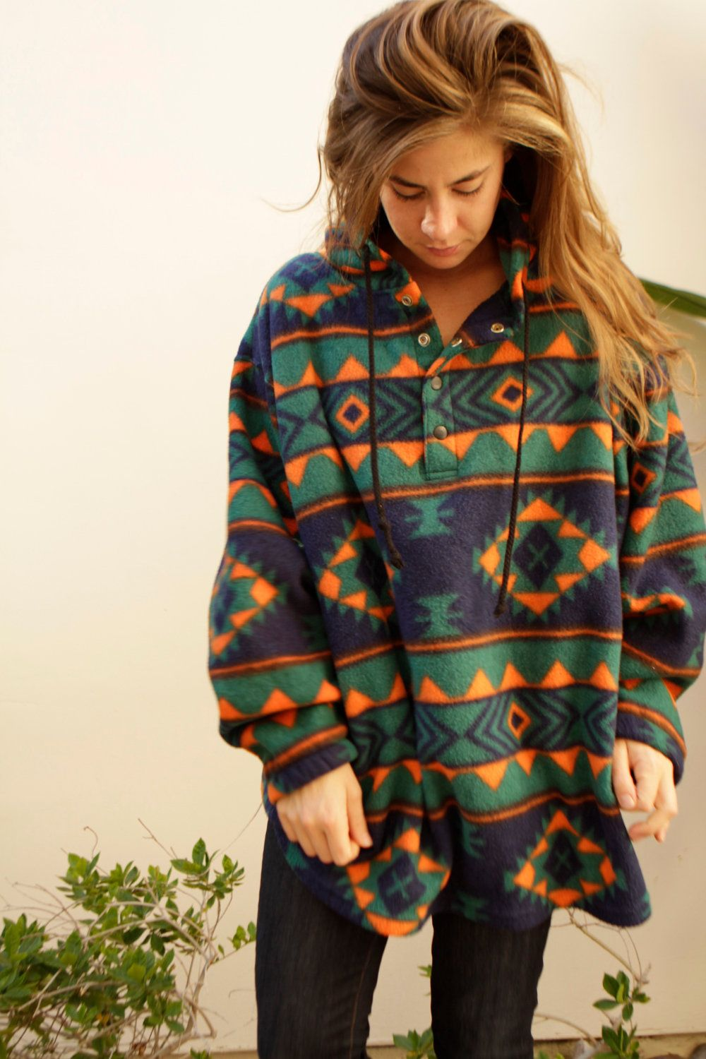 90s SLOUCHY ikat style SOUTHWEST large FLEECE sweatshirt jacket ...