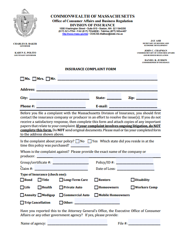 Massachusetts Insurance Commissioner Complaint