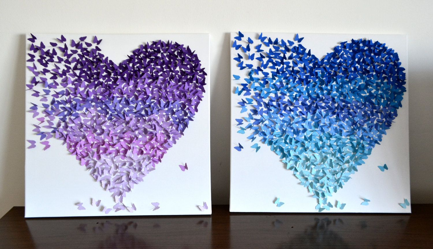 RESERVED for Mari -Purple Ombre Butterfly Heart, 3D Butterfly Art ...