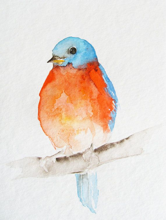 Little Orange And Blue Bird Original Watercolor Art Painting